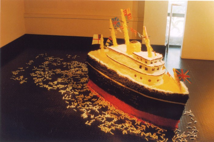 'Merry Britannia', piñata in the shape of the Royal Yacht Britannia